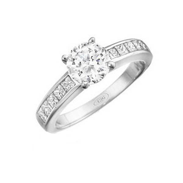 Princess Cut Channel Engagement Ring Stock # 12-1256YGC-AE