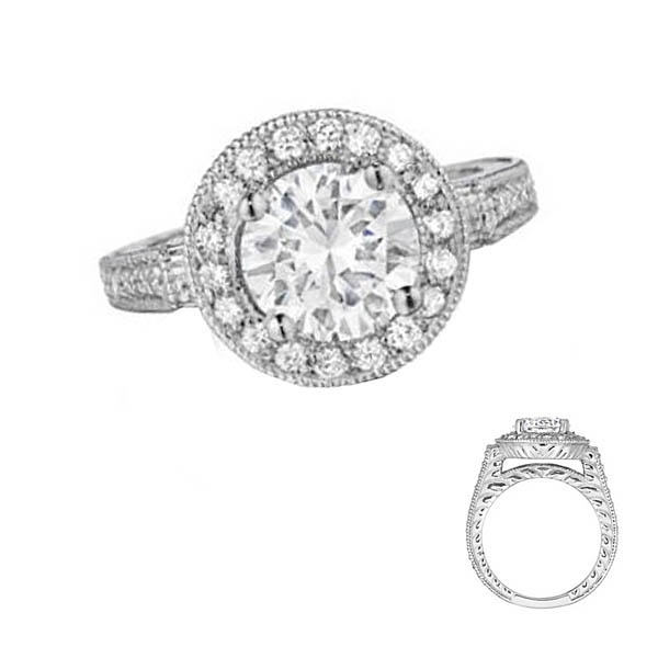 HaloEngagement Ring Stock # 12-1256YGX-BH