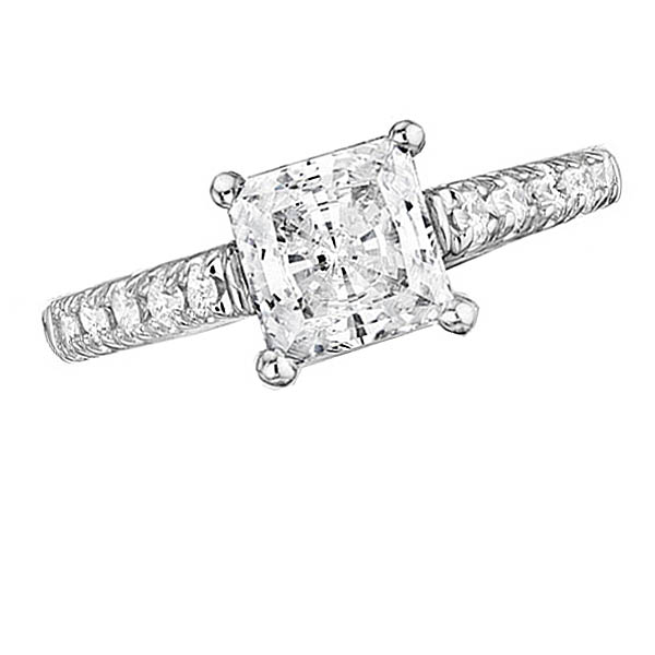 Princess Cut Center Engagement Ring Stock # 12-1256ZGB-AQ
