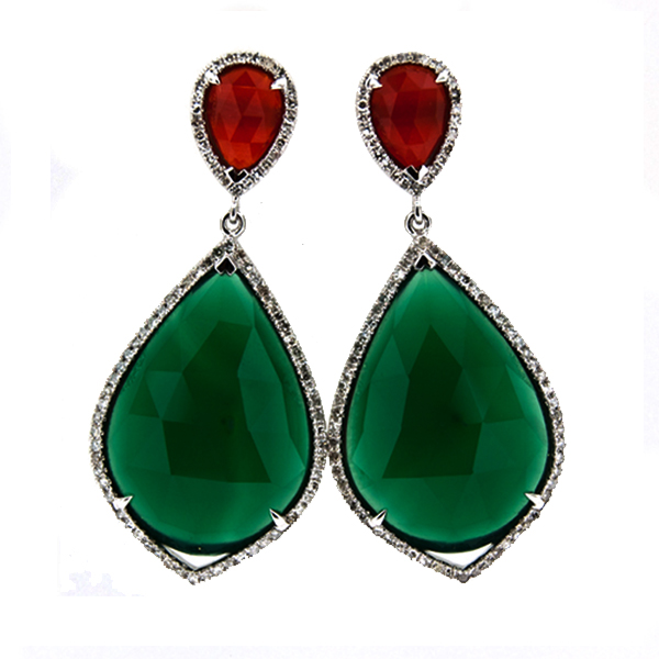 RED GREEN AGATE EARRINGS Stock # 16-5XXBB1671