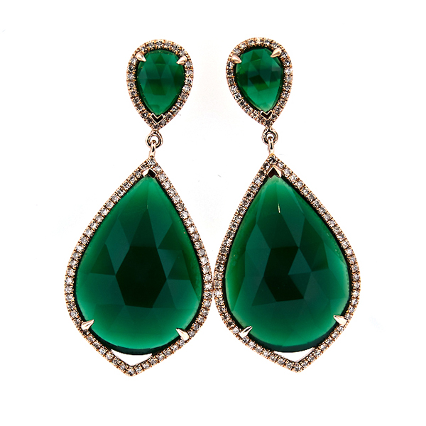 GREEN AGATE EARRING Stock # 16-5XXBB717
