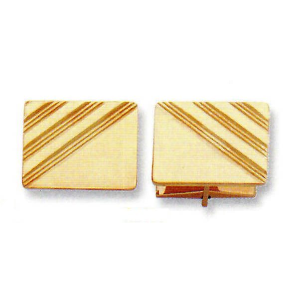 14K Y.G. Cufflink 20x15mm Stock # 18-CL-DFX