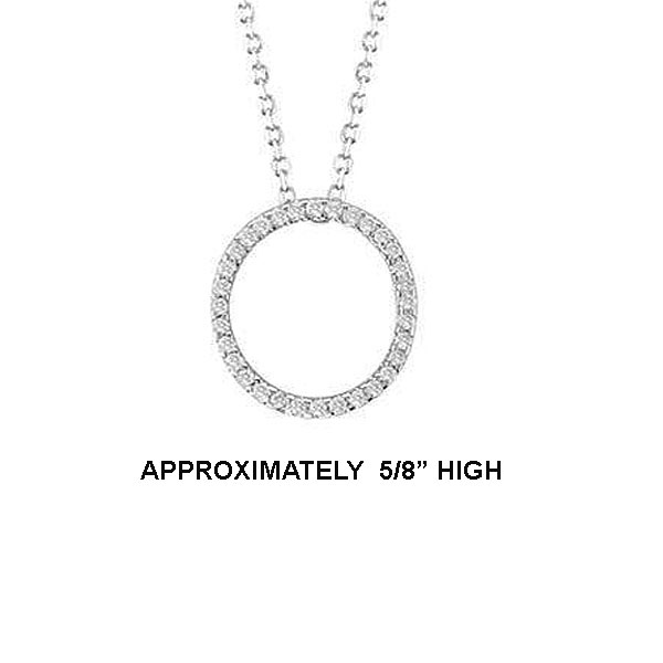 "14k Dia 'O' Pendant. 5/8"" High. 16pt TW G-H- SI2. 16"" Cable Chain. Stock # 29-1912913-O"