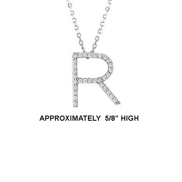 "14k Dia 'R' Pendant. 5/8"" High. 16pt TW G-H- SI2. 16"" Cable Chain. Stock # 29-1912913-R"