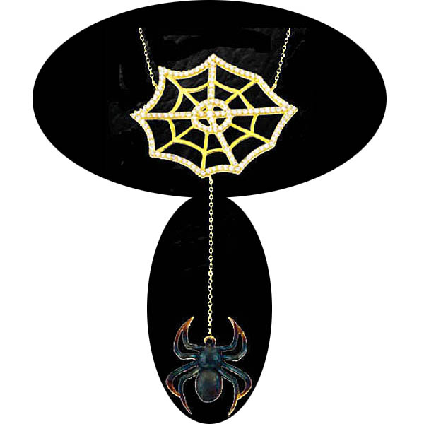 Web with Spider Drop Pendant. Stock # 31-11116-2FYG-LG