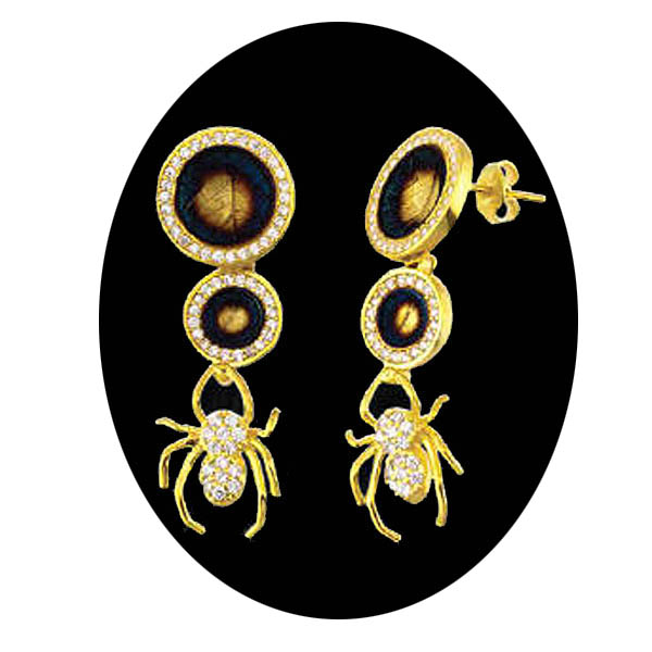 Double Leaf Spider Drop Earrings. Stock # 31-1115-2FZC
