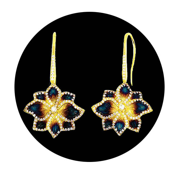 Hawaiin Orchid Earrings. Stock # 31-1115-BQE