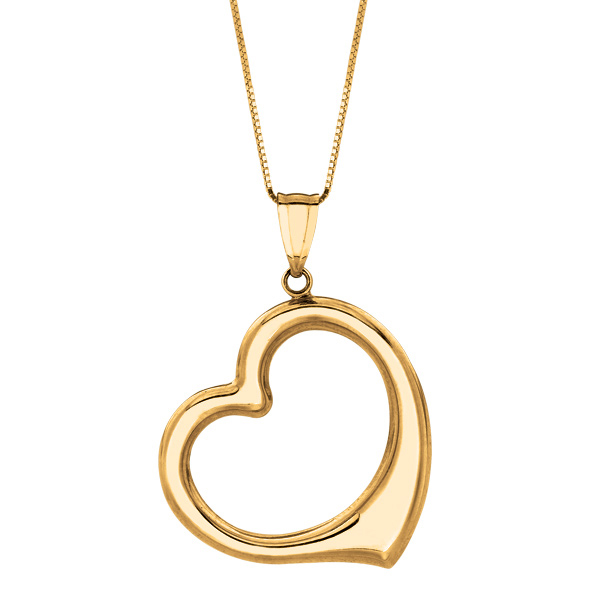 "14K 18"" Yellow Gold Box Chain Open Heart Pendant Stock # 36-164AZCA"