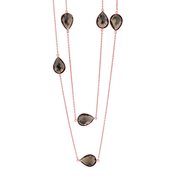 SS Rose Necklace. Smokey Quartz. Stock # 36-16736-CAWC
