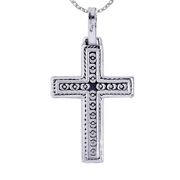 Silver with Rhodium Finish Shiny Textured Cross Pendant  Stock # 36-17134AAB
