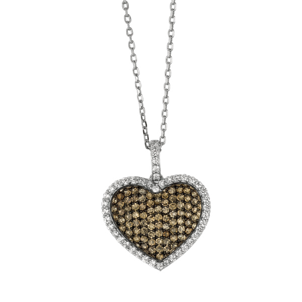 "18"" Silver 1.1mm Chain. Heart Shape Pendant with Coffee+White Cubic Zirconia. Stock # 36-17316AGB"