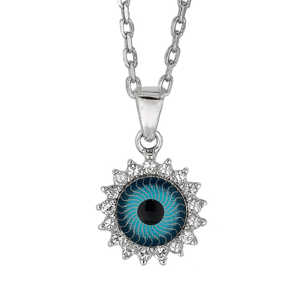 "Rhodium CZ Evil Eye Pendant on 18"" Chain Stock # 36-17316BAI"