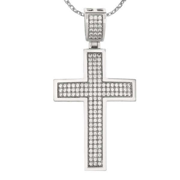 Silver Rhodium Finish Shiny 26x40mm Cross Pendant  Stock # 36-1733DADI
