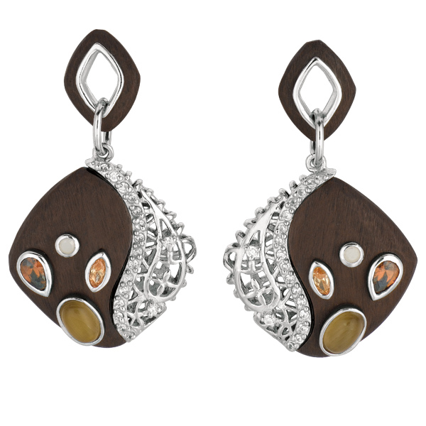 Silver w/Yellow Finish. Chocolate Earring w/Multi-Color Stones+White C.Z. Stock # 36-175ABEE