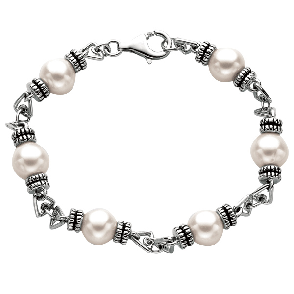 "Silver Rhodium+Oxidized 9.2mm White Pearl 7.5"" Bracelet Stock # 36-176CHC-7.5"