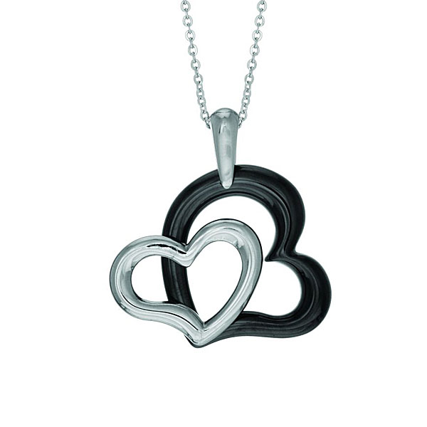 Stainless Steel Pendant. 2 Black-White Hearts. Stock # 36-1919-IAA