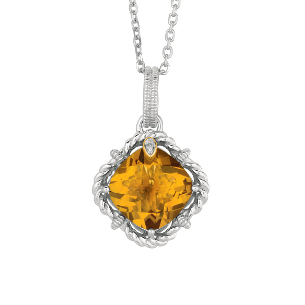 ".01ct Diamond. Whiskey Quartz. 18k Gold. Sterling.18"" Pendant. Link Chain. Stock # 36-1991216FZIC"