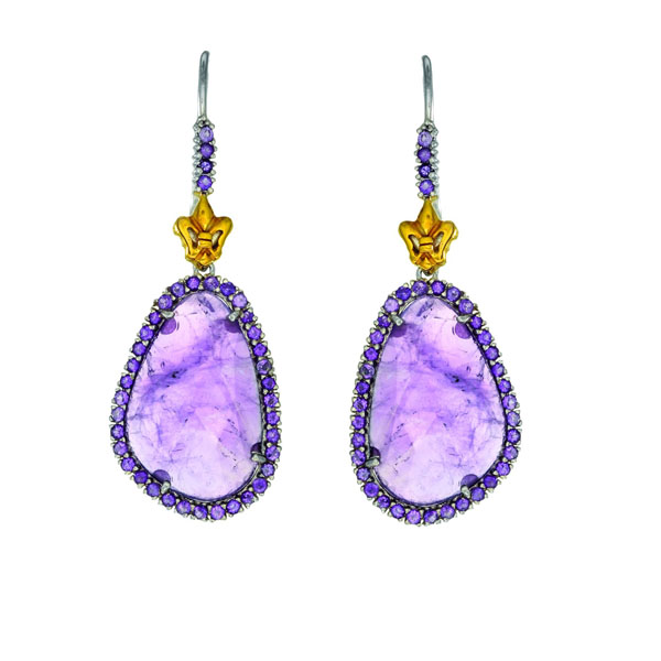 Briollette Amethyst Drop Earrings Stock # 36-199125-DGD