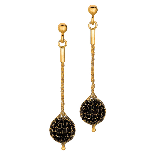14K Y.G. Shiny Round Onyx with Mesh Covered Drop Earring. Stock # 36-518AAHA
