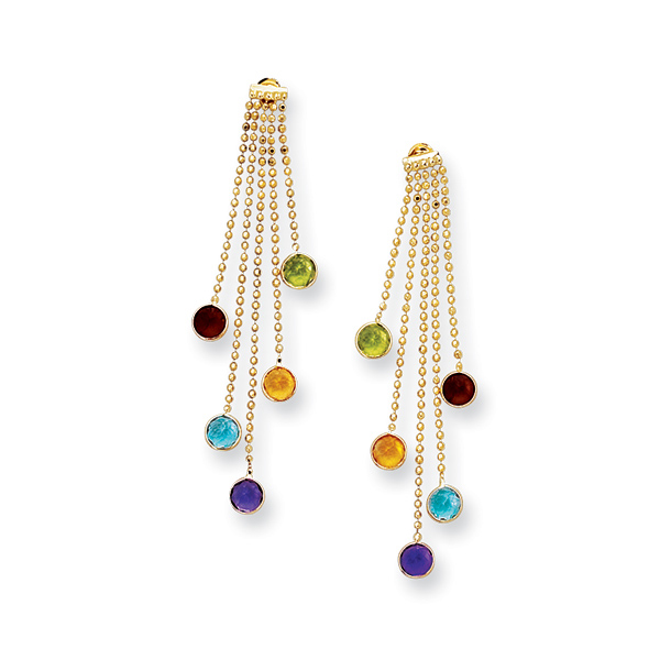 14K Y.G. Dia-Cut 5 Strand Chain EarringS w/5 Multi Color Round Stones. Stock # 36-518CCI