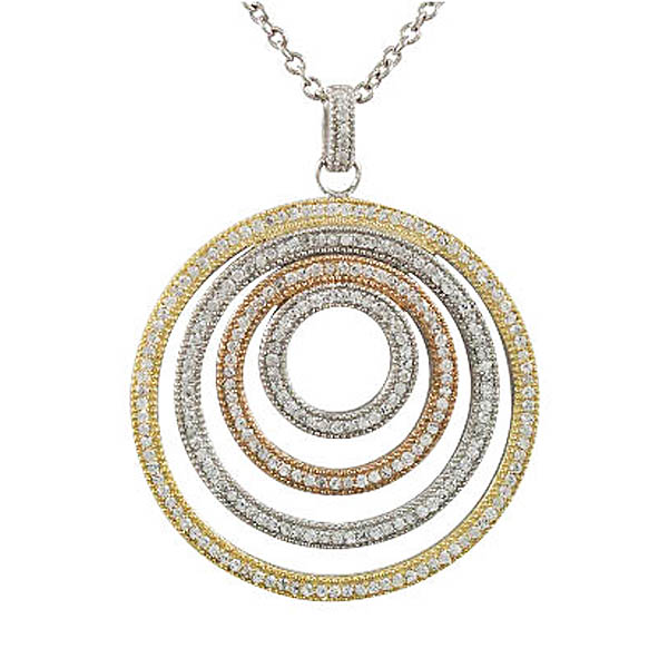 Tri-Color Circle Pendant. Stock # 41-F1614AQGE