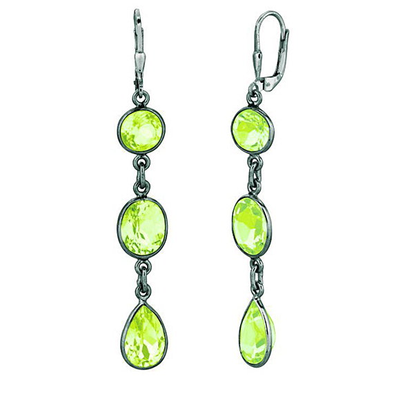 S.S. Black Rhod Leverback Earrings w/ Green Amethyst.  Stock # 81-16735DZHB