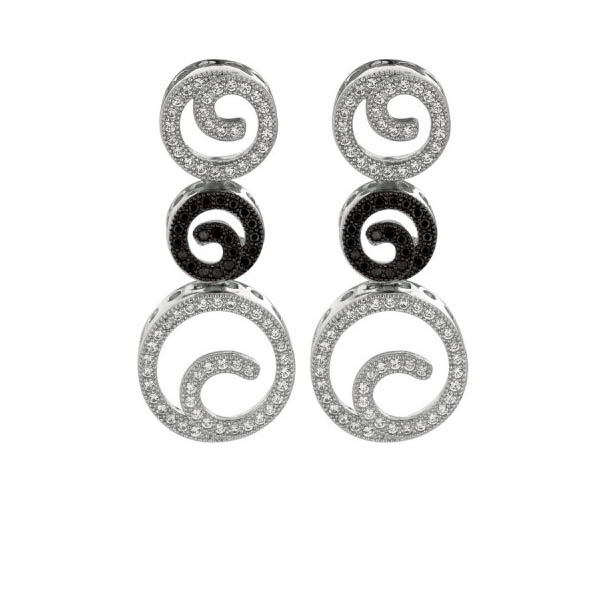 AG: BLACK WHITE CZ EARRINGS Stock#81-1735BCGI