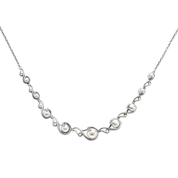 "Silver Pearl 17"" Necklace Stock # 81-176CHD"