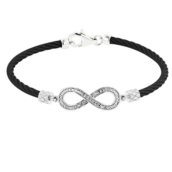 Infinity Stainless+Silver Bracelet. Stock # 81-18376-BAQ
