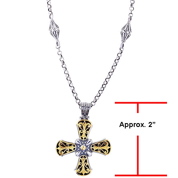 Sterling Silver and !8 Karat Yellow Gold Cross Pendant. Stock # 81-1991214AAI