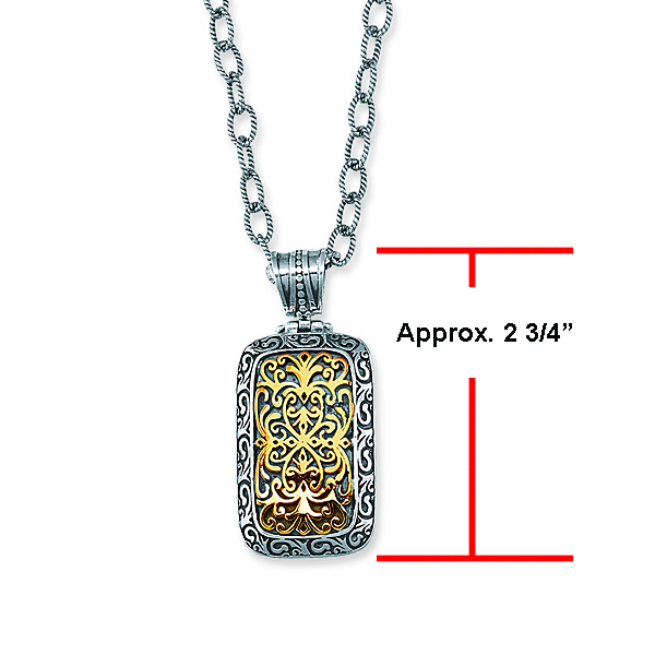 18k Yellow Gold & Sterling Silver Oxidized Long Rectangular Byzantine Pendant.  Stock # 81-1991216AI