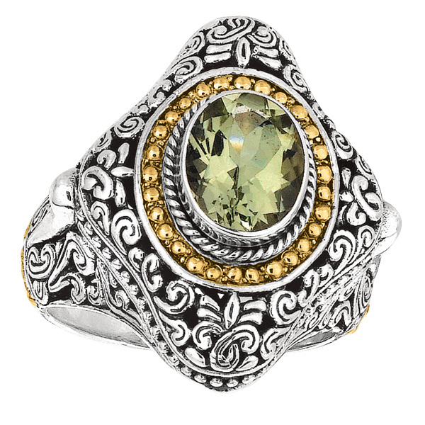 18k Yellow Gold & Sterling Silver Ring w/Green Amethyst. Stock # 81-1991218AZCE