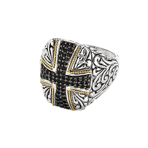 18k Yellow Gold & Sterling Silver Ring w/Black Sapphire. Stock # 81-1991218AZDF