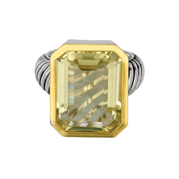 18k Yellow Gold & Sterling Silver Ring w/Lemon Quartz. Stock # 81-1991218AZZA
