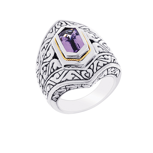 18k Yellow Gold & Sterling Silver Ring w/Hexagon Amethyst. Stock # 81-1991218FB