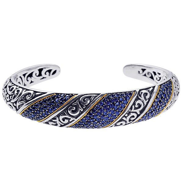 18k Y.G.& S.S.Oxidized Blue Sapphire Hinged Cuff Bangle. Stock # 81-199122BZZ