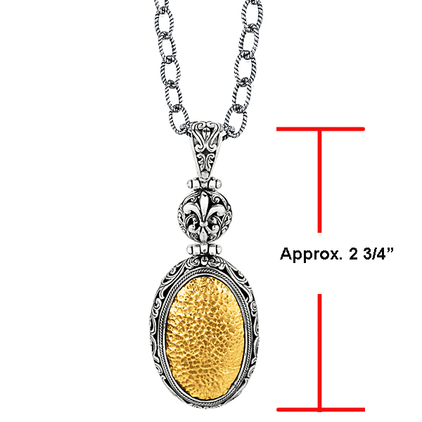 18k Y.G. & S.S. Oxidized Hammered Finished Oval Byzantine Pendant. Stock # 81-1991238FZGC