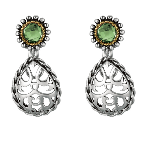 Sterling Silver Pear Shaped Earrings with round Green Amethyst. Stock # 81-199125ACG
