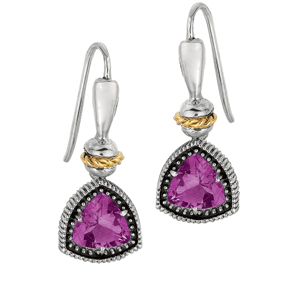 18k Yellow Gold & Sterling Silver Trillion Cut Amethyst Drop Earrings. Stock # 81-199125CEA