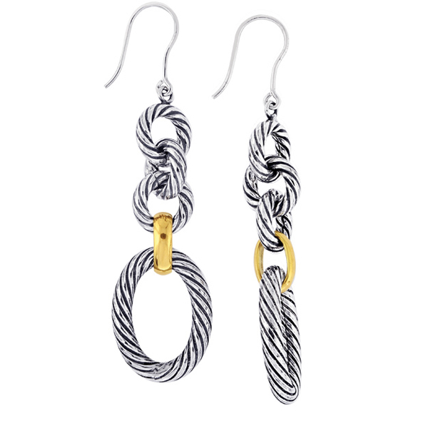 18k Yellow Gold & Sterling Silver Oxidized  Italian Cable Drop Earrings. Stock # 81-199125CF
