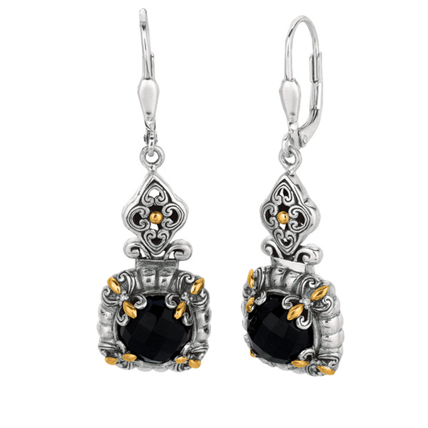 18k Yellow Gold & Sterling Silver Oxidized Black Onyx Byzantine Drop Earrings. Stock # 81-199125DBF