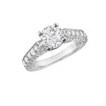 Shank and Side Stone Engagement Ring Stock # 12-1256QGC-CA