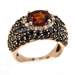 Black Diamond Garnet Ring Stock # 16-RGZCX