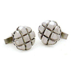 14K W.G. Criss Cross Pattern Cufflinks Stock # 18-CL-BFH