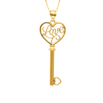 "14 Karat Yellow Gold Love in Heart Key. 18"" Chain. Stock # 36-164AZA"