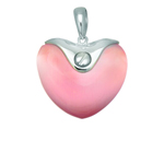 Silver with Rhodium Finish Pendant with Lt.Pink Lab-Created Cat's Eye. Stock # 36-1716ADHH