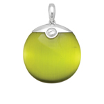 Silver with Rhodium Finish Pendant with Green Lab-Created Cat's Eye. Stock # 36-1716ADIF