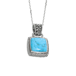 "18"" Silver 1.5mm Chain W/Lobster Clasp. Reconstituted Turquoise Pendant. Stock # 36-1716DAG"