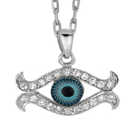"Rhodium CZ Evil Eye Pendant on 18"" Chain Stock # 36-17316BCC"