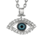 "Rhodium CZ Evil Eye Pendant on 18"" Chain Stock # 36-17316BCD"